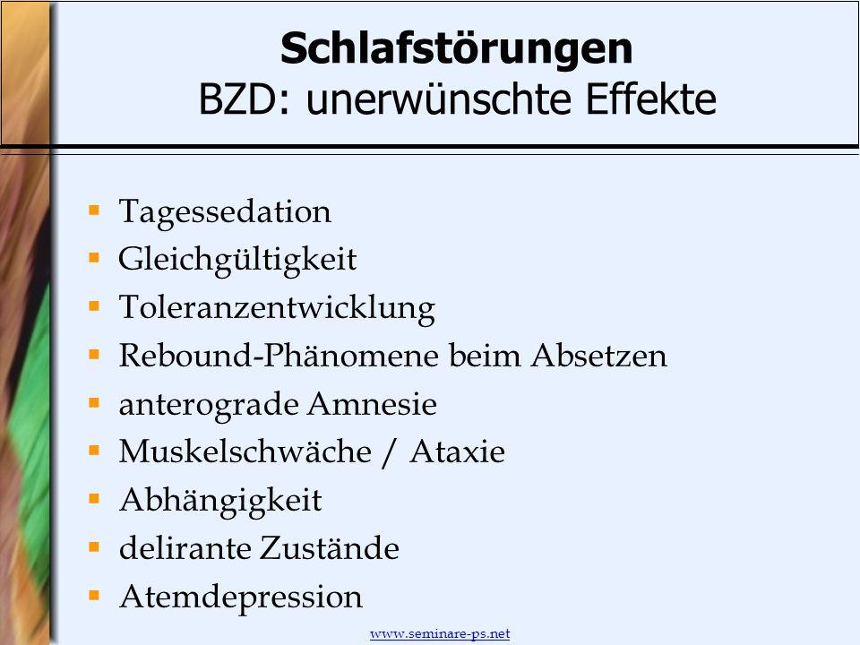 www.seminare-ps.net Schlafstörungen BZD: unerwünschte Effekte Tagessedation Gleichgültigkeit Toleranzentwicklung Rebound-Phänomene beim Absetzen anter
