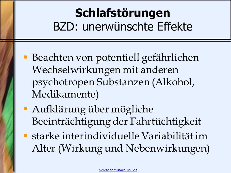 www.seminare-ps.net Schlafstörungen BZD: unerwünschte Effekte Beachten von potentiell gefährlichen Wechselwirkungen mit anderen psychotropen Substanze