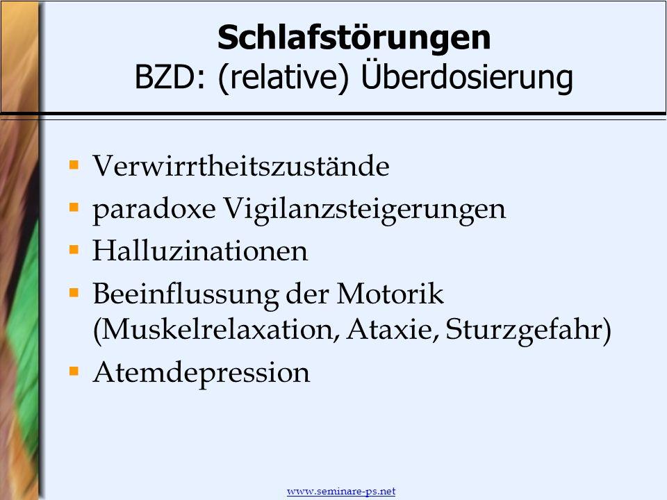 www.seminare-ps.net Schlafstörungen BZD: (relative) Überdosierung Verwirrtheitszustände paradoxe Vigilanzsteigerungen Halluzinationen Beeinflussung de