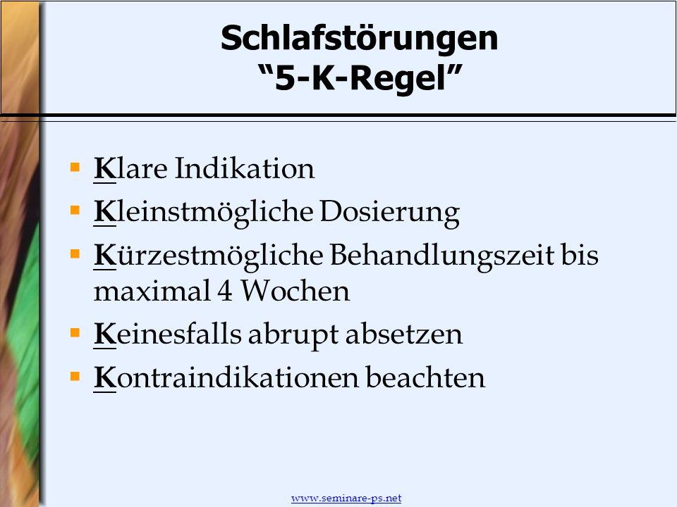 www.seminare-ps.net Schlafstörungen 5-K-Regel K lare Indikation K leinstmögliche Dosierung K ürzestmögliche Behandlungszeit bis maximal 4 Wochen K ein