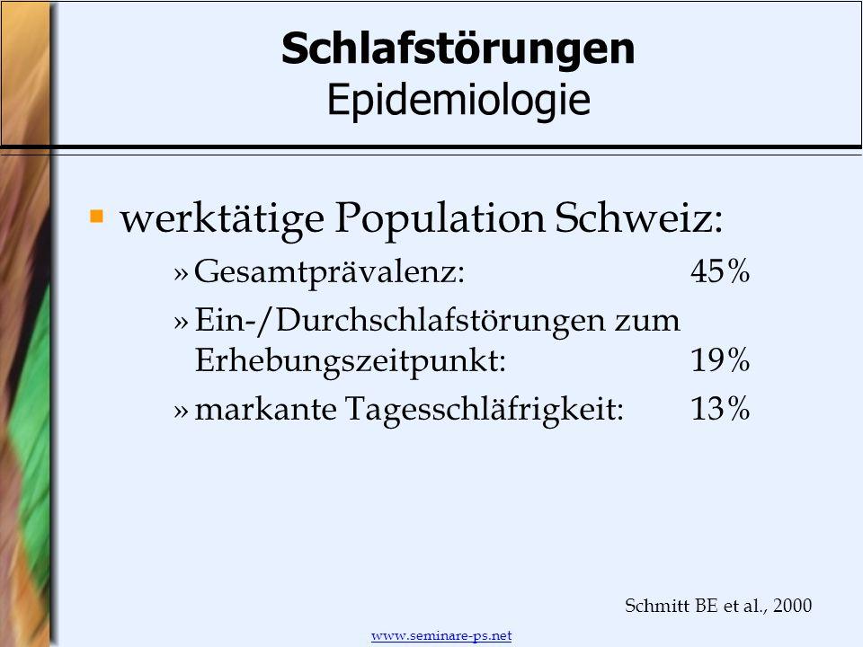 www.seminare-ps.net Schlafstörungen Epidemiologie werktätige Population Schweiz: »Gesamtprävalenz:45% »Ein-/Durchschlafstörungen zum Erhebungszeitpunk