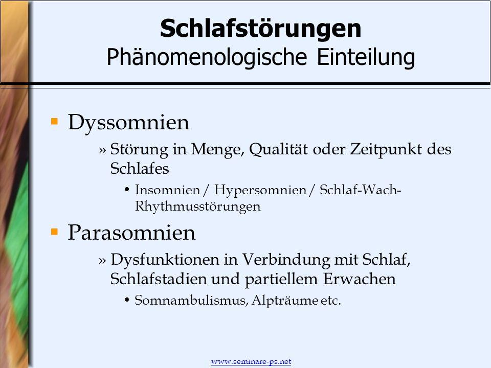 www.seminare-ps.net Schlafstörungen Phänomenologische Einteilung Dyssomnien »Störung in Menge, Qualität oder Zeitpunkt des Schlafes Insomnien / Hypers