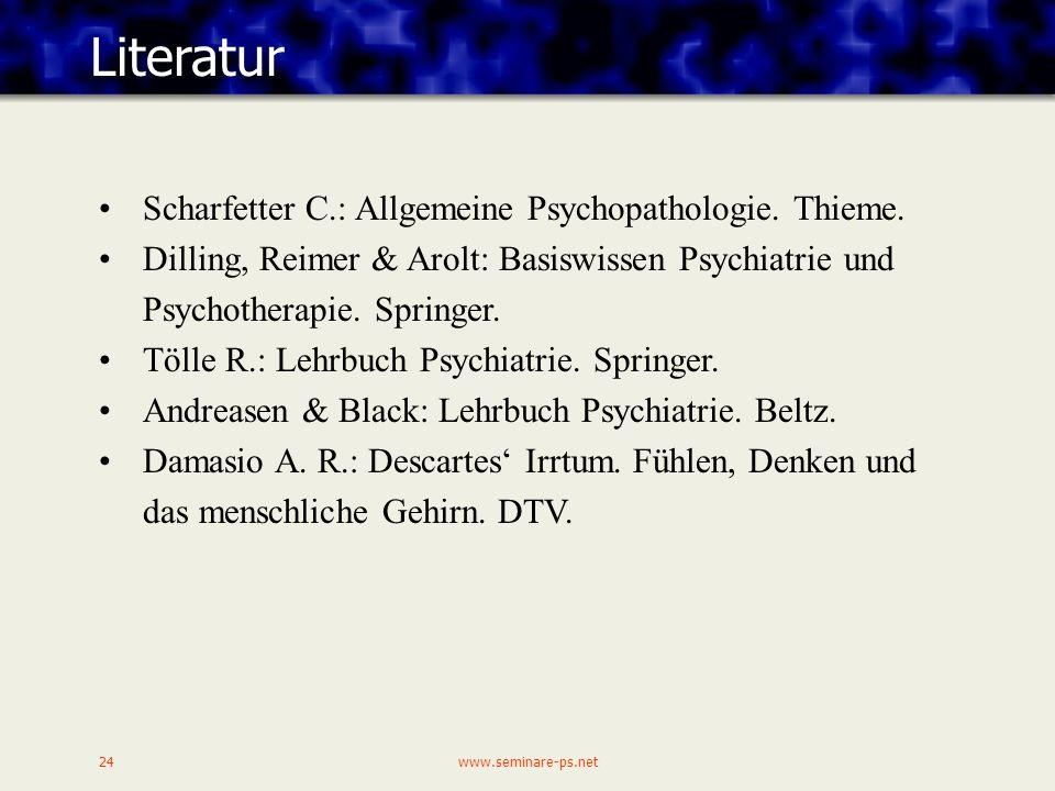 www.seminare-ps.net24 Literatur Scharfetter C.: Allgemeine Psychopathologie.