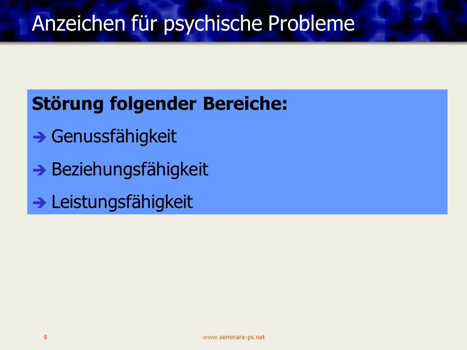 www.seminare-ps.net8 Anzeichen für psychische Probleme Störung folgender Bereiche: Genussfähigkeit Beziehungsfähigkeit Leistungsfähigkeit