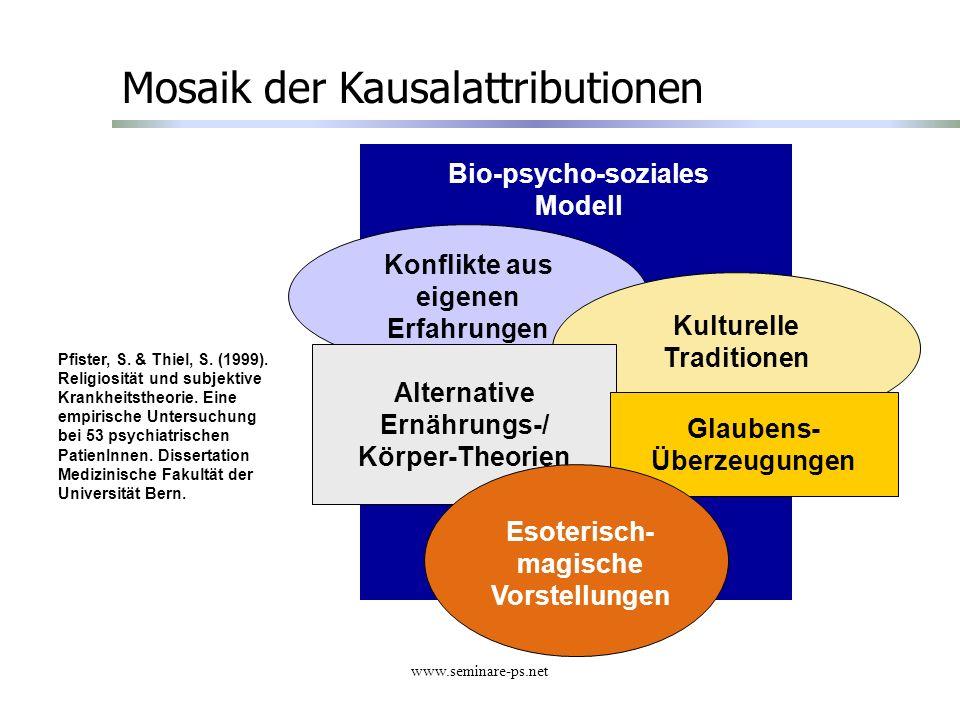 www.seminare-ps.net Bio-psycho-soziales Modell Mosaik der Kausalattributionen Konflikte aus eigenen Erfahrungen Kulturelle Traditionen Alternative Ern