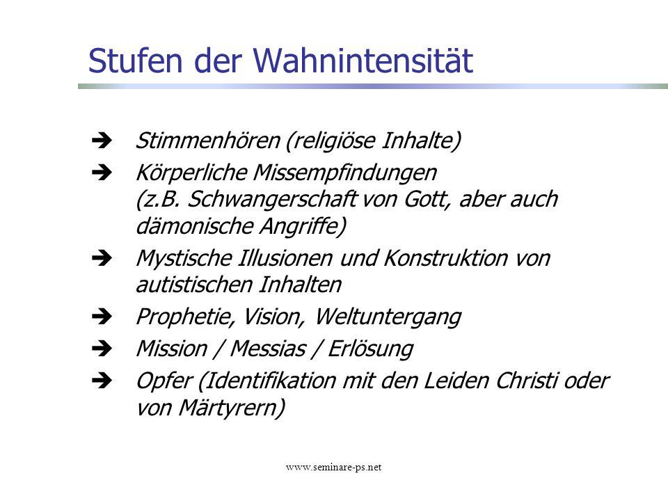 www.seminare-ps.net Stufen der Wahnintensität Stimmenhören (religiöse Inhalte) Körperliche Missempfindungen (z.B. Schwangerschaft von Gott, aber auch