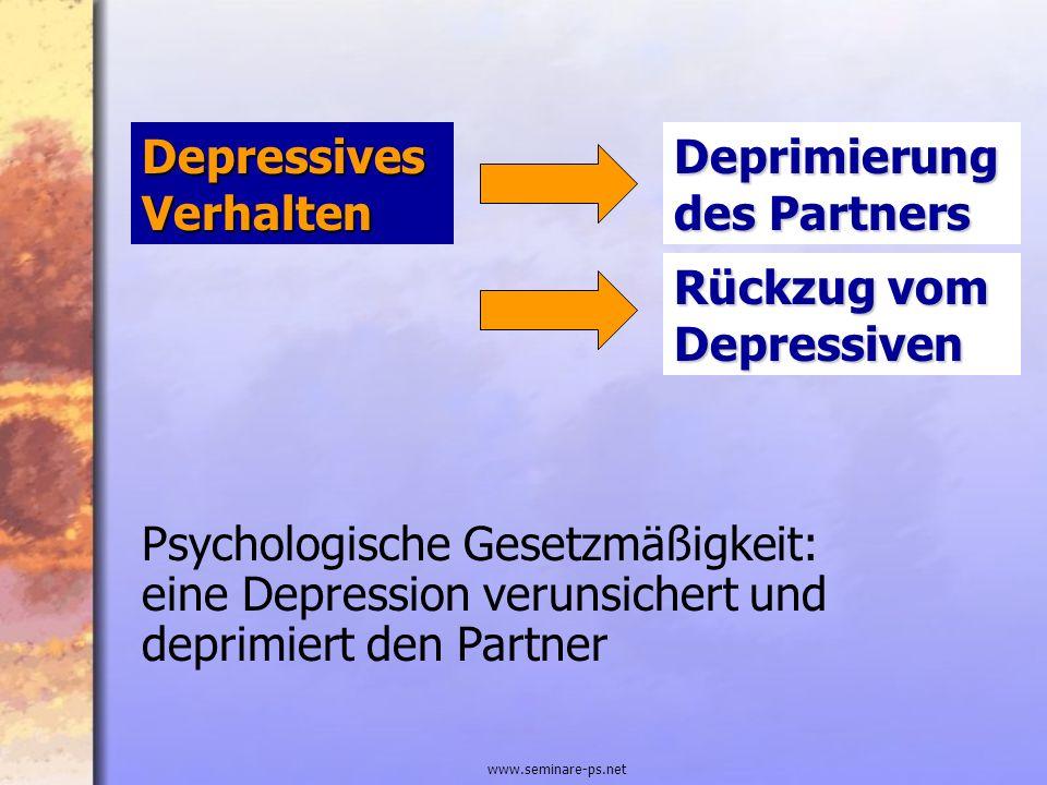 www.seminare-ps.net Depressives Verhalten Psychologische Gesetzmäßigkeit: eine Depression verunsichert und deprimiert den Partner Deprimierung des Par