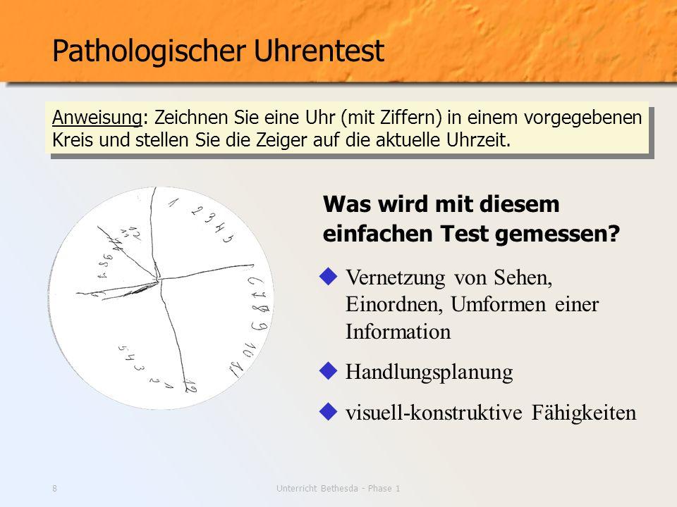 Unterricht Bethesda - Phase 18 Pathologischer Uhrentest Vernetzung von Sehen, Einordnen, Umformen einer Information Handlungsplanung visuell-konstrukt