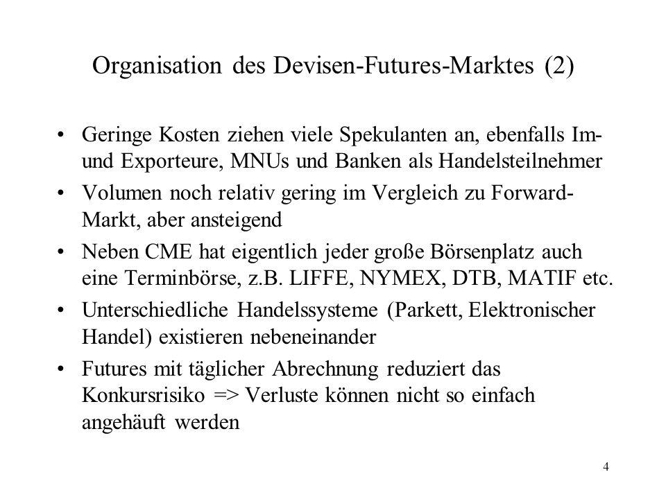 5 Organisation des Devisen-Futures-Marktes (3) Verpflichtungen, die man durch Futures-Verträge eingegangen ist, werden typischerweise kurz vor Fälligkeit mit Gegengeschäft erfüllt => keine Lieferung der zugrundeliegenden Devisen Vor- und Nachteile von Futures-Kontrakten –Kleinere Volumina und die Freiheit, den Vertrag jederzeit auf einem kompetitiven Markt zu liquidieren, schafft in dieser Hinsicht Flexibilitätsvorteil für Futures –Für Unternehmen sind jedoch oft Forwards attraktiver: Lieferzeit und Volumina frei vereinbar, nur die großen Währungen werden auf Futures-Märkten gehandelt Größere Preisunterschiede bezogen auf eine Währung zwischen Futures- und Forward-Märkten können ausgenutzt werden => Bis wieder approximativ Preisgleichheit herrscht