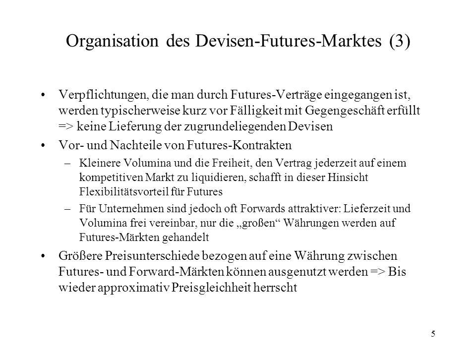 5 Organisation des Devisen-Futures-Marktes (3) Verpflichtungen, die man durch Futures-Verträge eingegangen ist, werden typischerweise kurz vor Fälligk