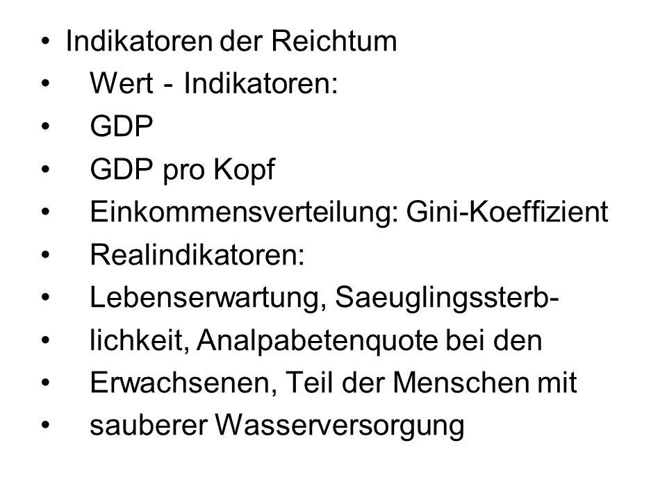 Indikatoren der Reichtum Wert Indikatoren: GDP GDP pro Kopf Einkommensverteilung: Gini-Koeffizient Realindikatoren: Lebenserwartung, Saeuglingssterb- lichkeit, Analpabetenquote bei den Erwachsenen, Teil der Menschen mit sauberer Wasserversorgung