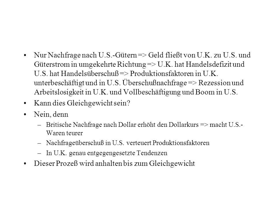 Nur Nachfrage nach U.S.-Gütern => Geld fließt von U.K. zu U.S. und Güterstrom in umgekehrte Richtung => U.K. hat Handelsdefizit und U.S. hat Handelsüb