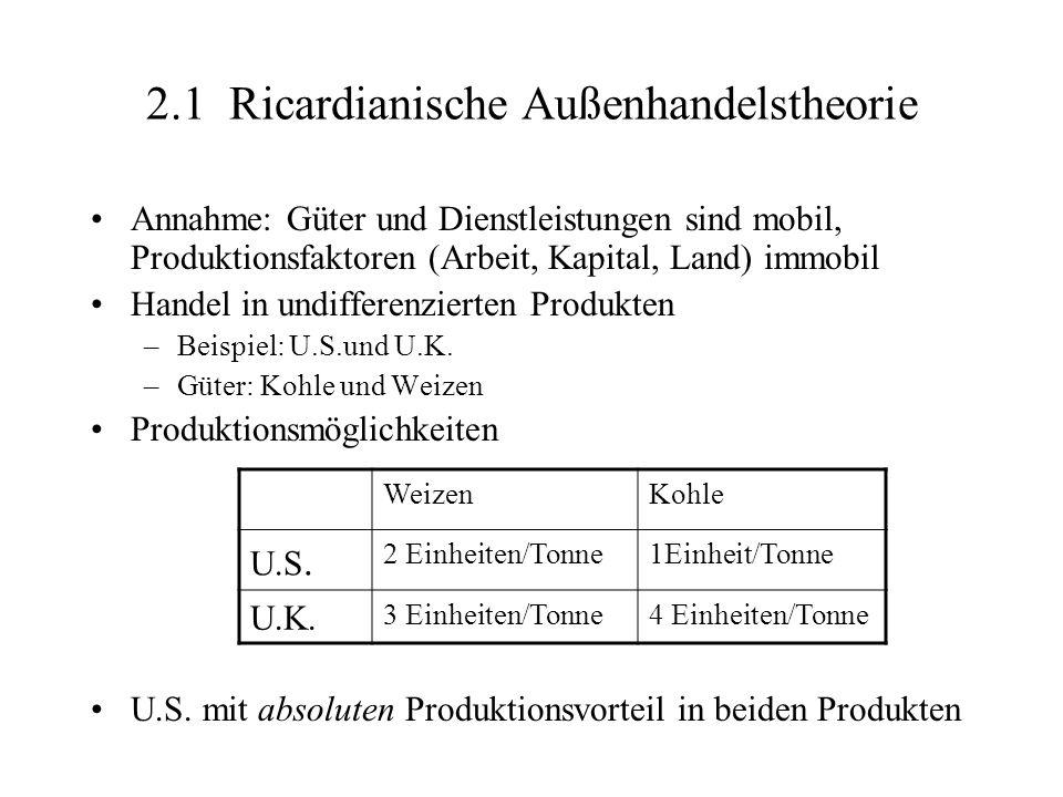 2.1 Ricardianische Außenhandelstheorie Annahme: Güter und Dienstleistungen sind mobil, Produktionsfaktoren (Arbeit, Kapital, Land) immobil Handel in u