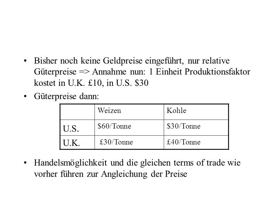 Bisher noch keine Geldpreise eingeführt, nur relative Güterpreise => Annahme nun: 1 Einheit Produktionsfaktor kostet in U.K. £10, in U.S. $30 Güterpre