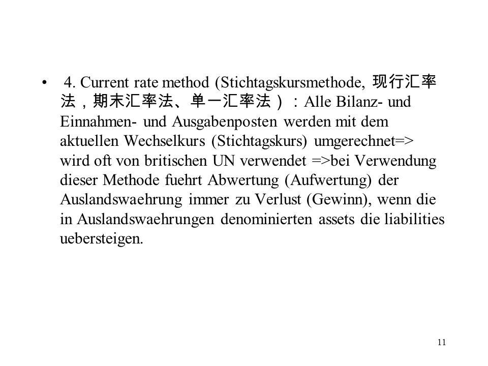 11 4. Current rate method (Stichtagskursmethode, Alle Bilanz- und Einnahmen- und Ausgabenposten werden mit dem aktuellen Wechselkurs (Stichtagskurs) u