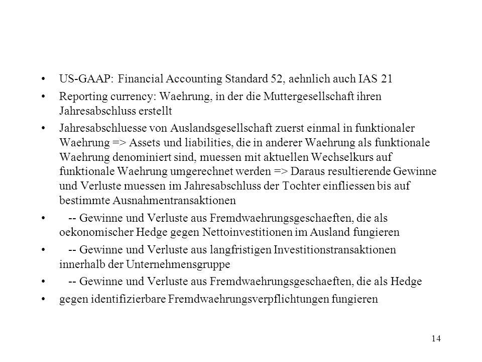 14 US-GAAP: Financial Accounting Standard 52, aehnlich auch IAS 21 Reporting currency: Waehrung, in der die Muttergesellschaft ihren Jahresabschluss e
