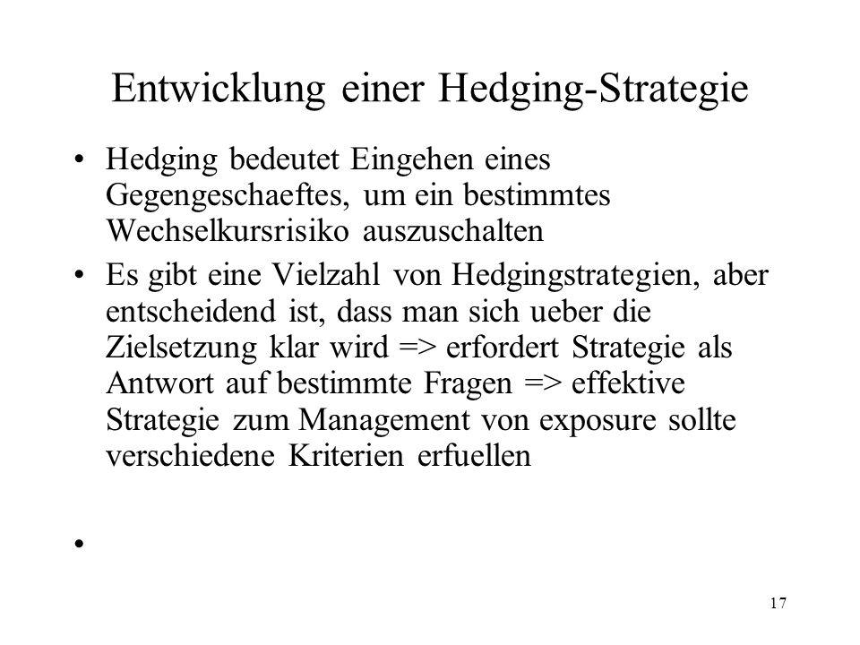 17 Entwicklung einer Hedging-Strategie Hedging bedeutet Eingehen eines Gegengeschaeftes, um ein bestimmtes Wechselkursrisiko auszuschalten Es gibt ein