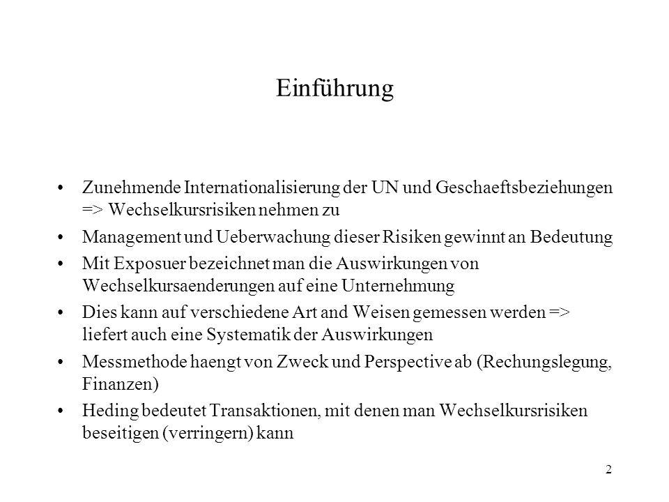 2 Einführung Zunehmende Internationalisierung der UN und Geschaeftsbeziehungen => Wechselkursrisiken nehmen zu Management und Ueberwachung dieser Risi