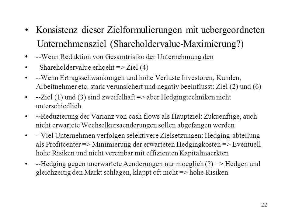 22 Konsistenz dieser Zielformulierungen mit uebergeordneten Unternehmensziel (Shareholdervalue-Maximierung?) - -Wenn Reduktion von Gesamtrisiko der Un