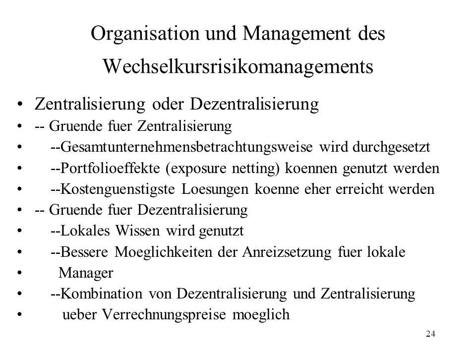 24 Organisation und Management des Wechselkursrisikomanagements Zentralisierung oder Dezentralisierung -- Gruende fuer Zentralisierung --Gesamtunterne