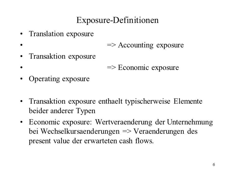 7 Accounting exposure International taetige UN:Vermoegensgegenstaende, Verbindlichkeiten, Einnahmen und Ausgaben teilweise in Fremdwaehrungen => muessen in der Heimatwaehrung umgerechnet werden fuer Investoren, Struern usw.