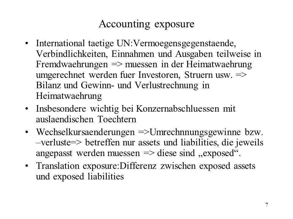 7 Accounting exposure International taetige UN:Vermoegensgegenstaende, Verbindlichkeiten, Einnahmen und Ausgaben teilweise in Fremdwaehrungen => muess