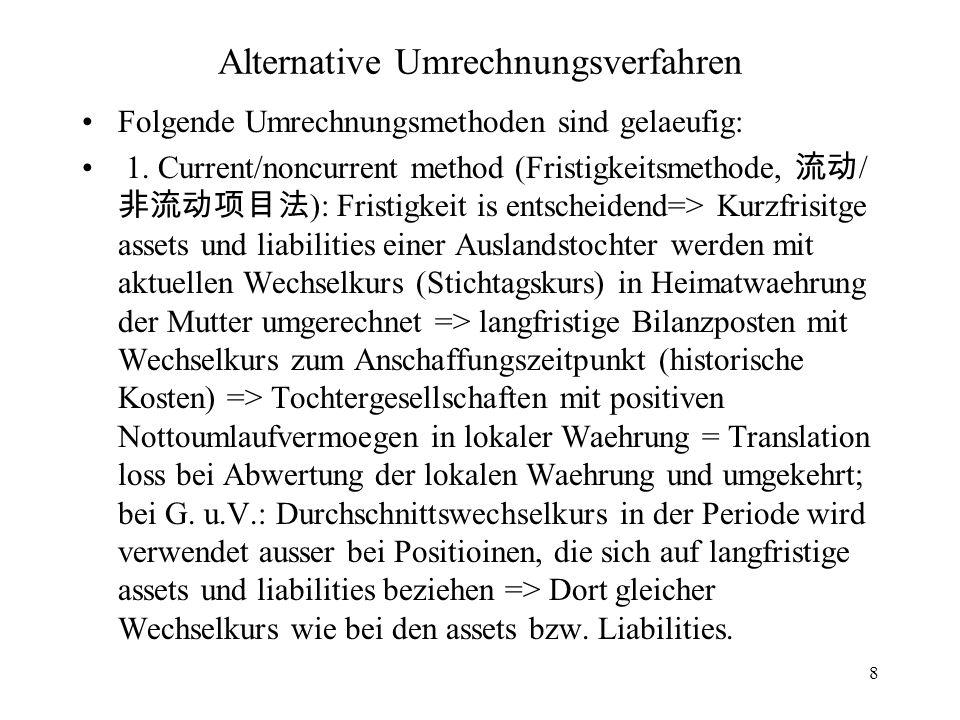 8 Alternative Umrechnungsverfahren Folgende Umrechnungsmethoden sind gelaeufig: 1. Current/noncurrent method (Fristigkeitsmethode, / ): Fristigkeit is
