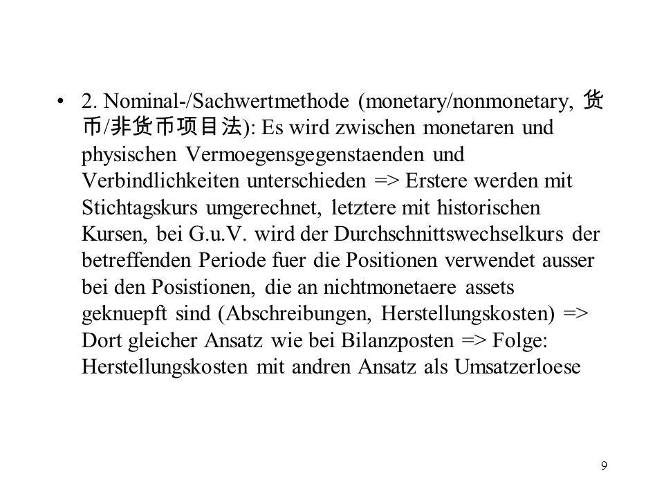 9 2. Nominal-/Sachwertmethode (monetary/nonmonetary, / ): Es wird zwischen monetaren und physischen Vermoegensgegenstaenden und Verbindlichkeiten unte