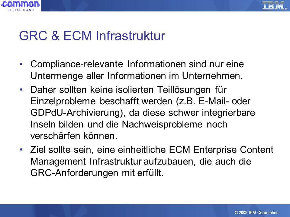 © 2009 IBM Corporation GRC & ECM Infrastruktur Compliance-relevante Informationen sind nur eine Untermenge aller Informationen im Unternehmen. Daher s