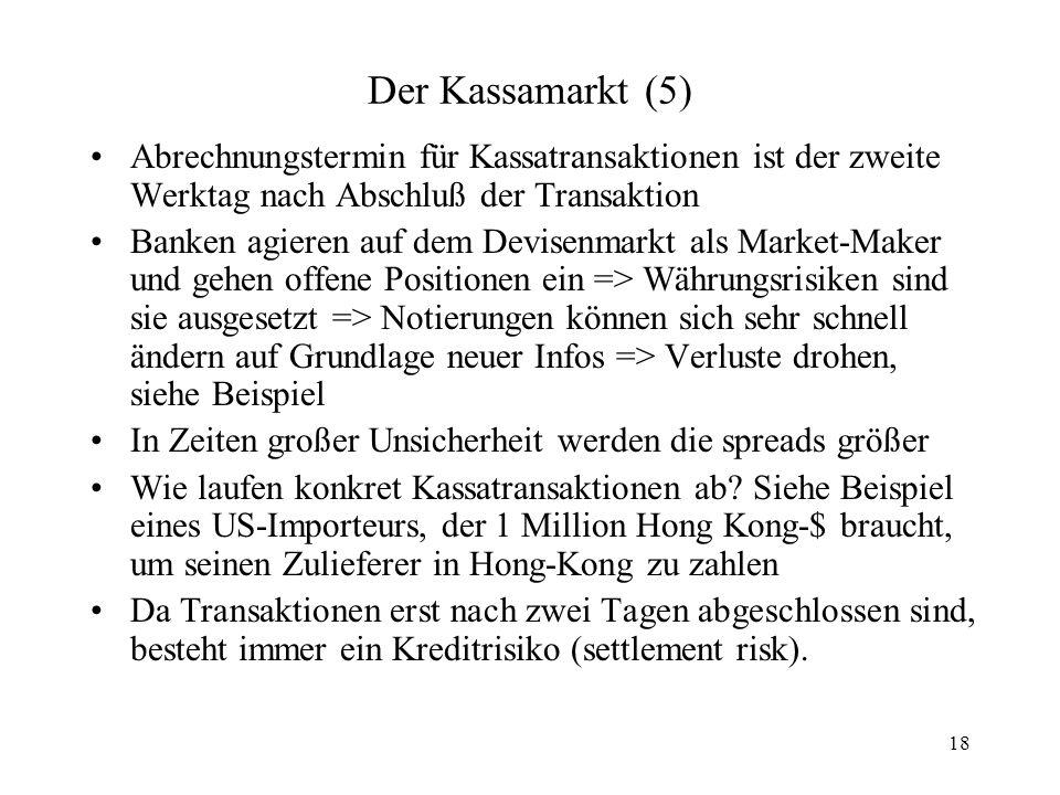 18 Der Kassamarkt (5) Abrechnungstermin für Kassatransaktionen ist der zweite Werktag nach Abschluß der Transaktion Banken agieren auf dem Devisenmark