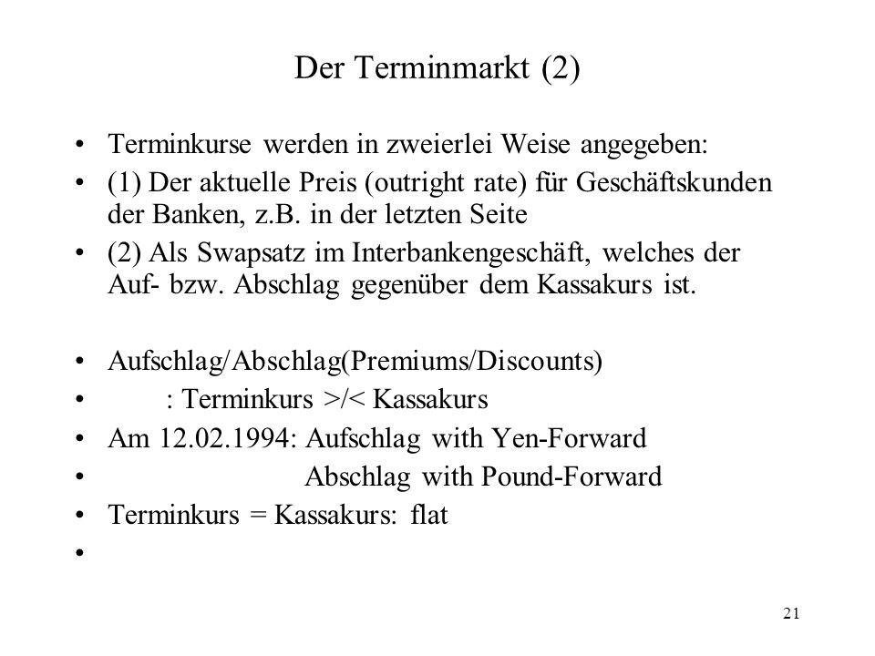 21 Der Terminmarkt (2) Terminkurse werden in zweierlei Weise angegeben: (1) Der aktuelle Preis (outright rate) für Geschäftskunden der Banken, z.B. in