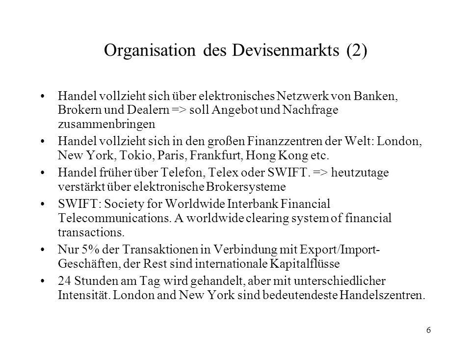6 Organisation des Devisenmarkts (2) Handel vollzieht sich über elektronisches Netzwerk von Banken, Brokern und Dealern => soll Angebot und Nachfrage