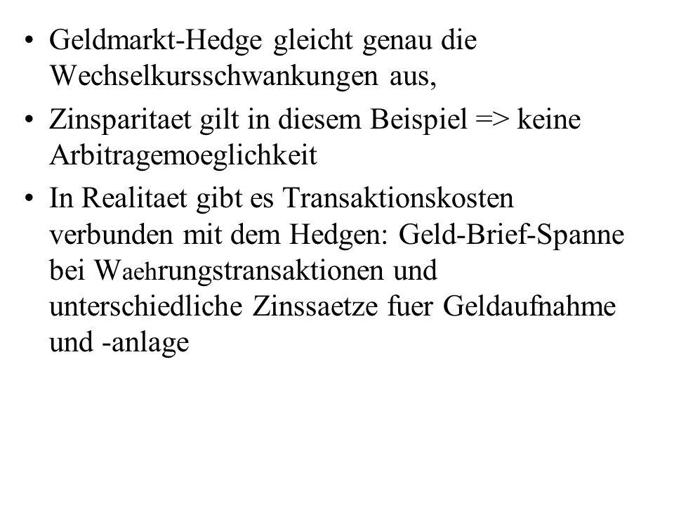 Geldmarkt-Hedge gleicht genau die Wechselkursschwankungen aus, Zinsparitaet gilt in diesem Beispiel => keine Arbitragemoeglichkeit In Realitaet gibt e