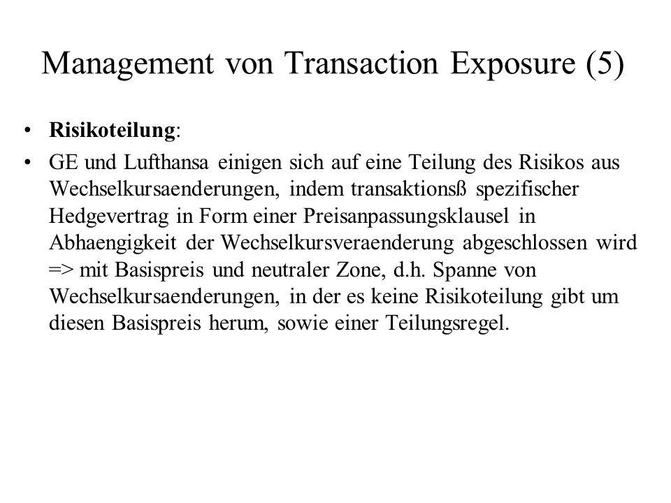 Management von Transaction Exposure (5) Risikoteilung: GE und Lufthansa einigen sich auf eine Teilung des Risikos aus Wechselkursaenderungen, indem tr