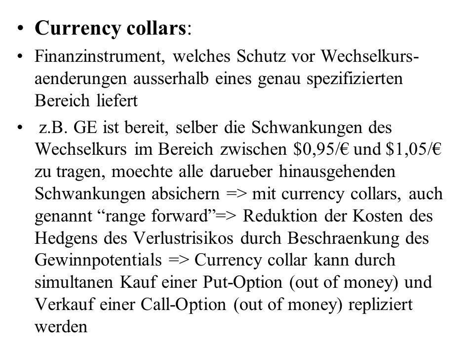 Currency collars: Finanzinstrument, welches Schutz vor Wechselkurs- aenderungen ausserhalb eines genau spezifizierten Bereich liefert z.B. GE ist bere
