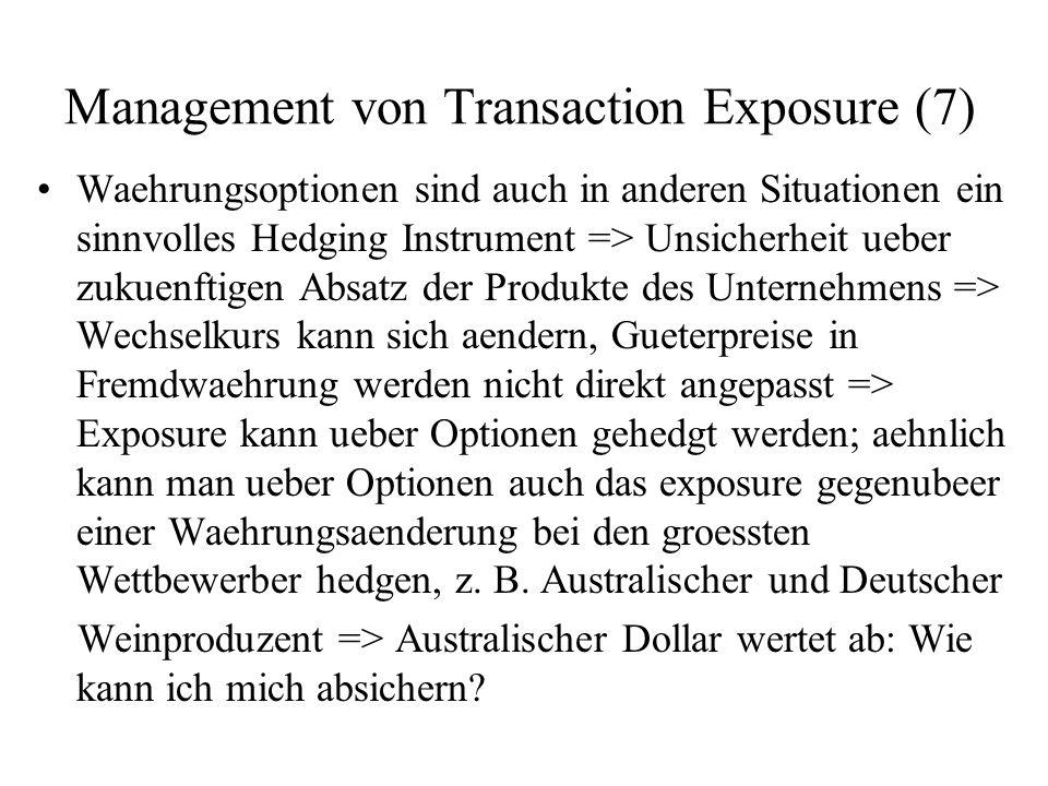Management von Transaction Exposure (7) Waehrungsoptionen sind auch in anderen Situationen ein sinnvolles Hedging Instrument => Unsicherheit ueber zuk
