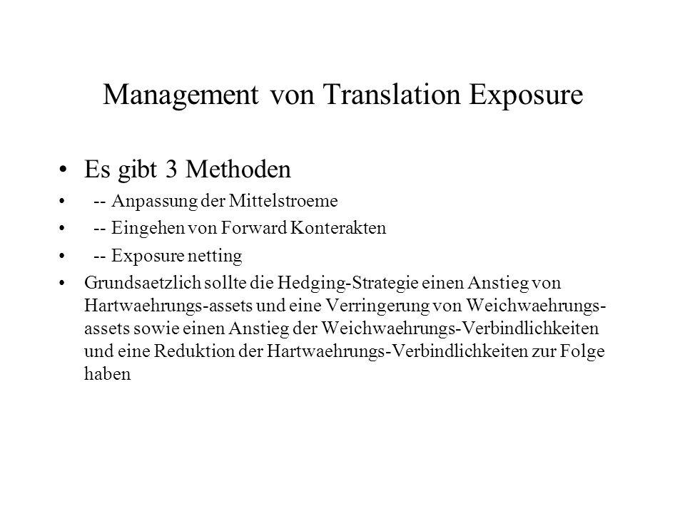 Management von Translation Exposure Es gibt 3 Methoden -- Anpassung der Mittelstroeme -- Eingehen von Forward Konterakten -- Exposure netting Grundsae