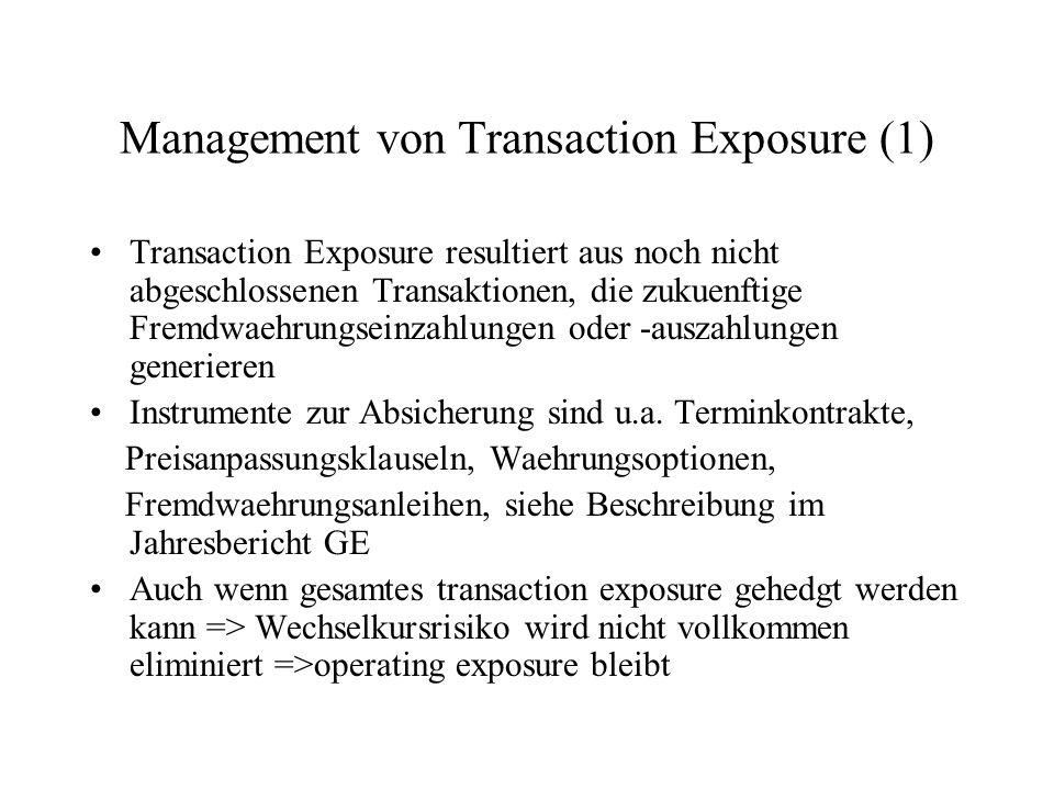 Management von Transaction Exposure (1) Transaction Exposure resultiert aus noch nicht abgeschlossenen Transaktionen, die zukuenftige Fremdwaehrungsei