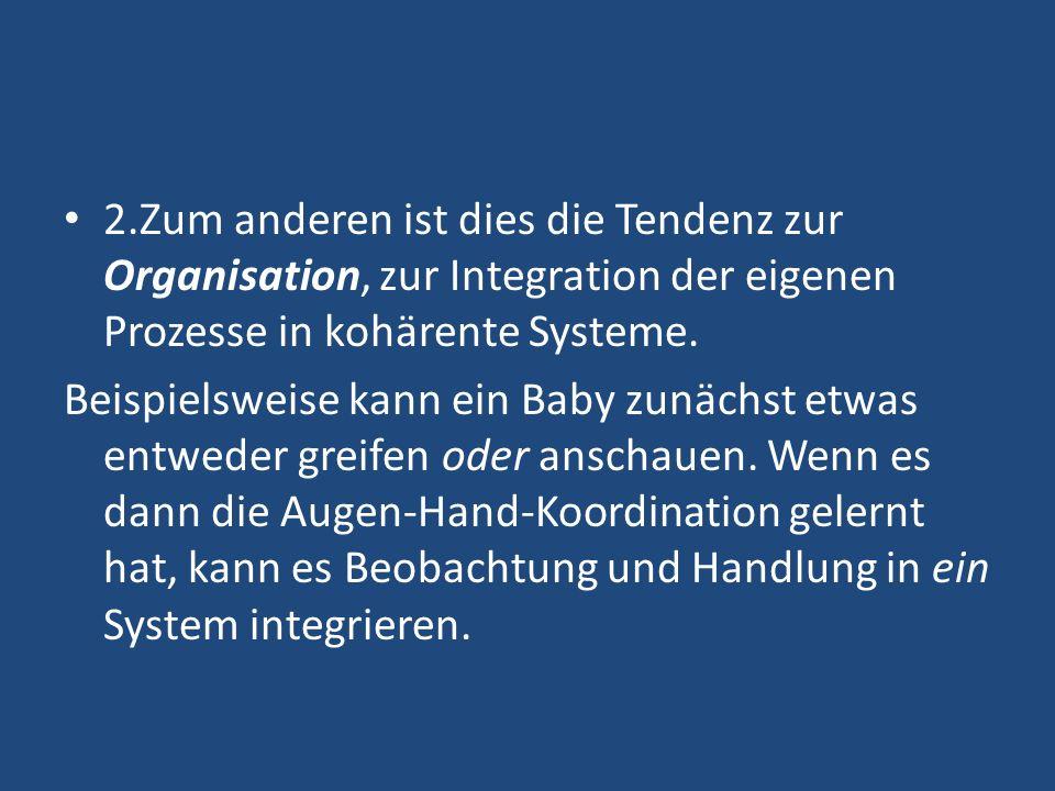 2.Zum anderen ist dies die Tendenz zur Organisation, zur Integration der eigenen Prozesse in kohärente Systeme.