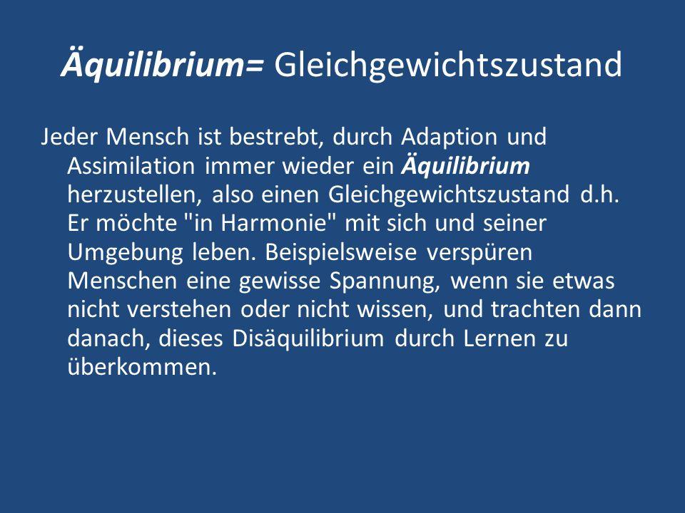 Äquilibrium= Gleichgewichtszustand Jeder Mensch ist bestrebt, durch Adaption und Assimilation immer wieder ein Äquilibrium herzustellen, also einen Gleichgewichtszustand d.h.