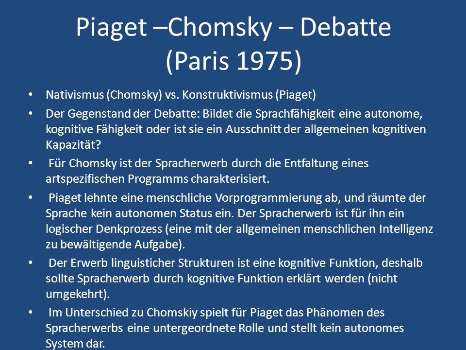 Piaget –Chomsky – Debatte (Paris 1975) Nativismus (Chomsky) vs.