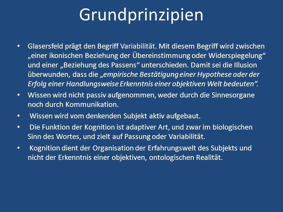 Grundprinzipien Glasersfeld prägt den Begriff Variabilität.