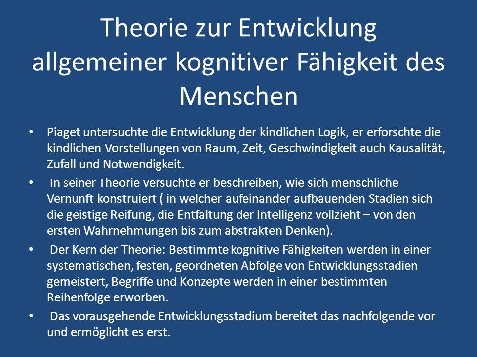 Theorie zur Entwicklung allgemeiner kognitiver Fähigkeit des Menschen Piaget untersuchte die Entwicklung der kindlichen Logik, er erforschte die kindlichen Vorstellungen von Raum, Zeit, Geschwindigkeit auch Kausalität, Zufall und Notwendigkeit.