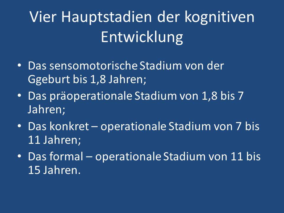 Vier Hauptstadien der kognitiven Entwicklung Das sensomotorische Stadium von der Ggeburt bis 1,8 Jahren; Das präoperationale Stadium von 1,8 bis 7 Jahren; Das konkret – operationale Stadium von 7 bis 11 Jahren; Das formal – operationale Stadium von 11 bis 15 Jahren.