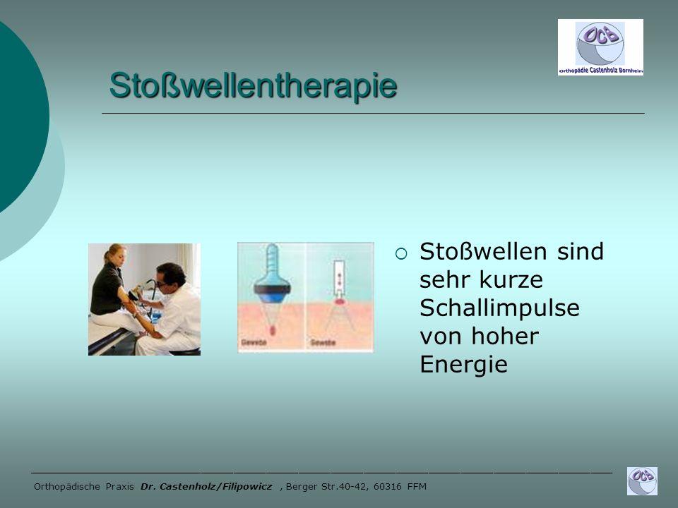 Stoßwellentherapie Stoßwellen sind sehr kurze Schallimpulse von hoher Energie ______________________________________________________ Orthopädische Pra