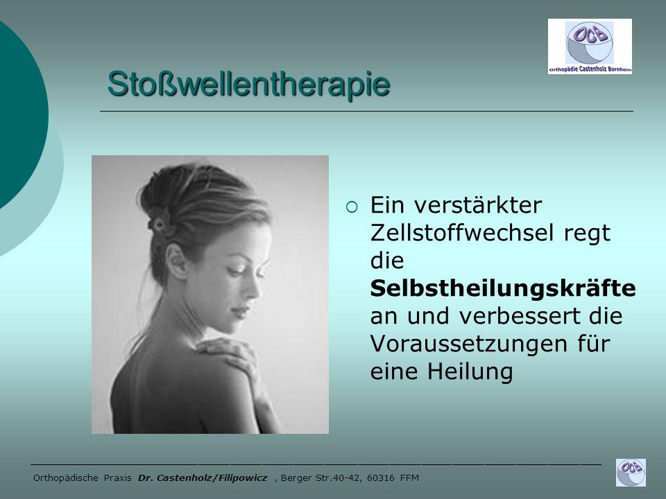 Stoßwellentherapie Ein verstärkter Zellstoffwechsel regt die Selbstheilungskräfte an und verbessert die Voraussetzungen für eine Heilung _____________