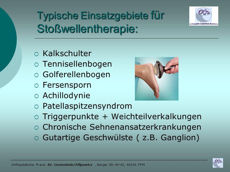 Typische Einsatzgebiete für Stoßwellentherapie: Kalkschulter Tennisellenbogen Golferellenbogen Fersensporn Achillodynie Patellaspitzensyndrom Triggerp