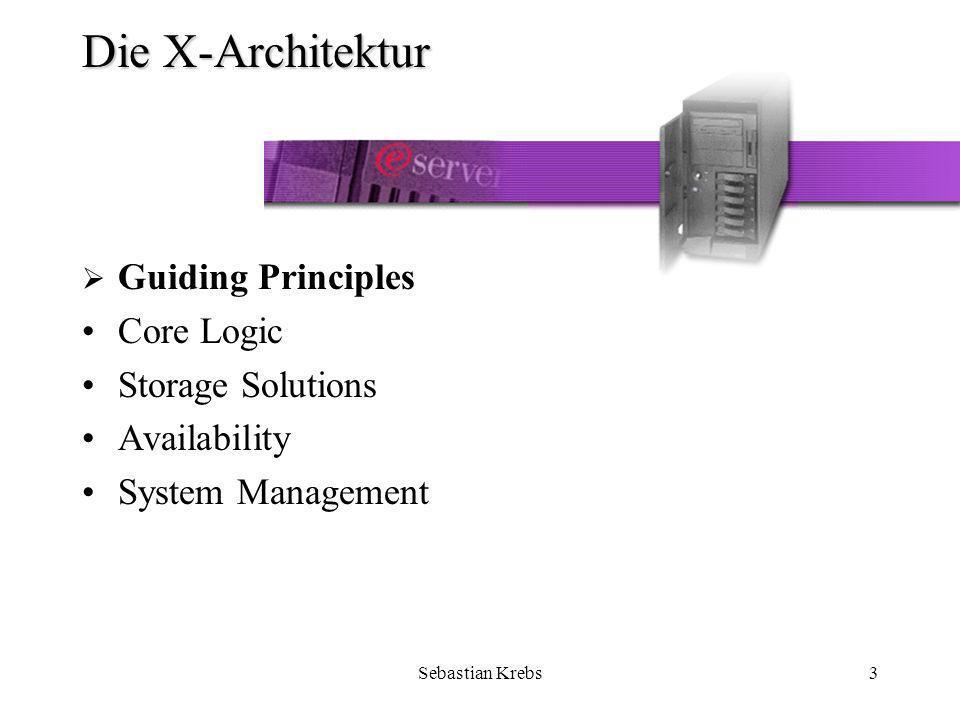 Sebastian Krebs24 Die X-Architektur - Availability Availability wird geboten durch –Predictive Failure Analysis (PFA) –Light Path Diagnostics –Software Rejuvenation