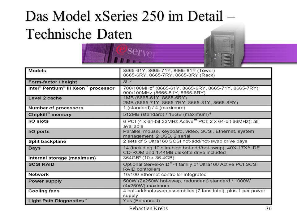 Sebastian Krebs36 Das Model xSeries 250 im Detail – Technische Daten