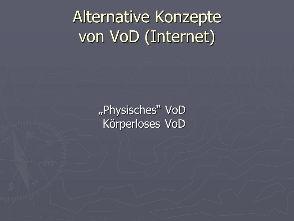 Alternative Konzepte von VoD (Internet) Physisches VoD Körperloses VoD Physisches VoD Körperloses VoD